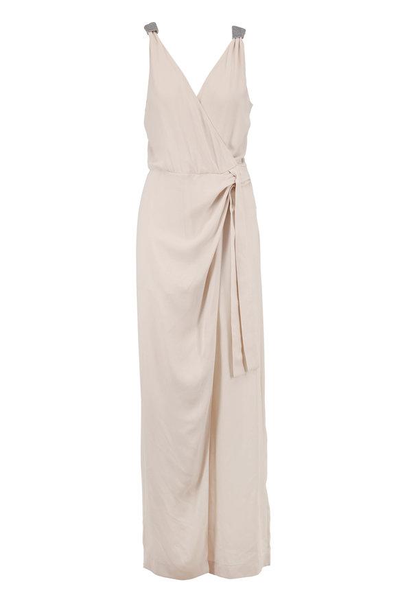 Brunello Cucinelli Vanilla Silk Crepe Sleeveless Faux-Wrap Jumpsuit