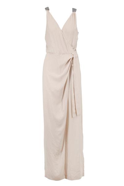 Brunello Cucinelli - Vanilla Silk Crepe Sleeveless Faux-Wrap Jumpsuit