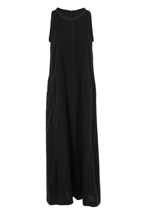 Brunello Cucinelli Black Monili Trim Scoopneck Dress