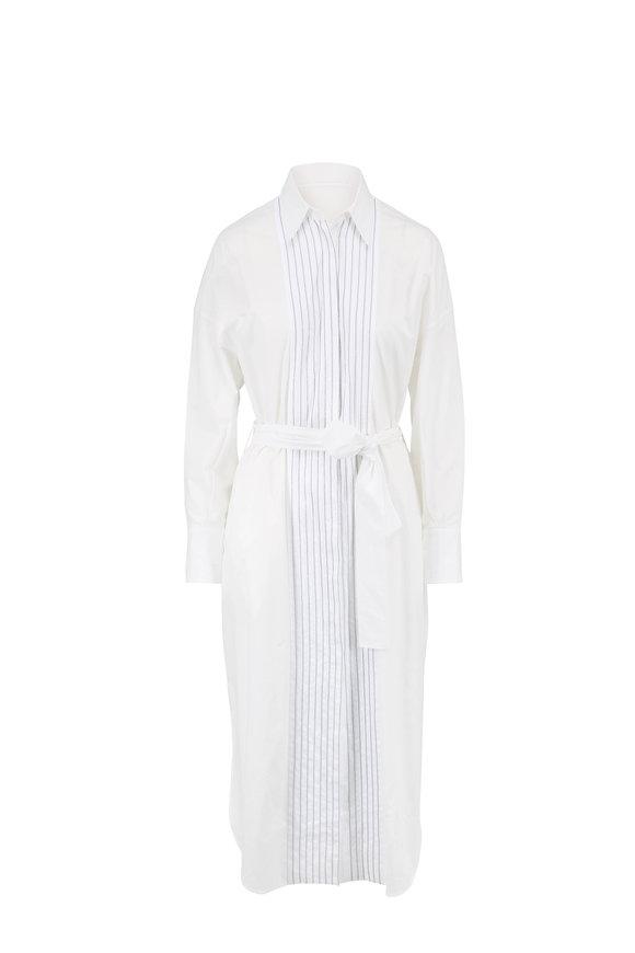 Brunello Cucinelli White Poplin Monili Placket Shirtdress