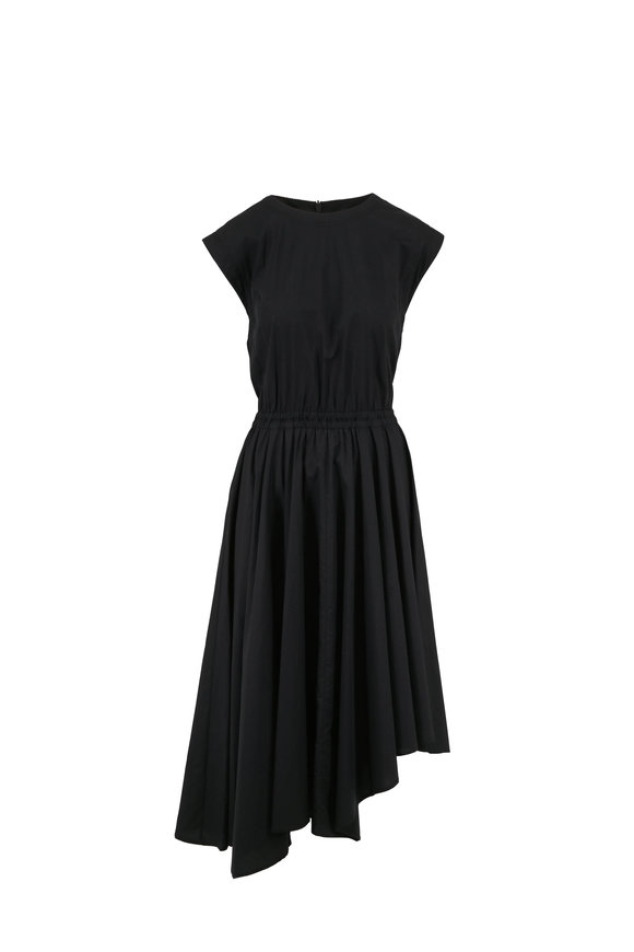 Brunello Cucinelli Black Poplin Cap Sleeve Elasticized Waist Dress