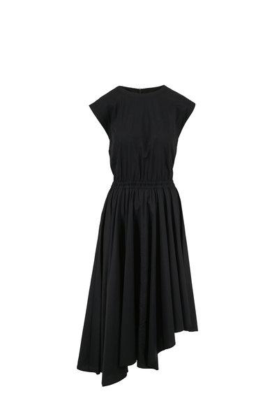 Brunello Cucinelli - Black Poplin Cap Sleeve Elasticized Waist Dress