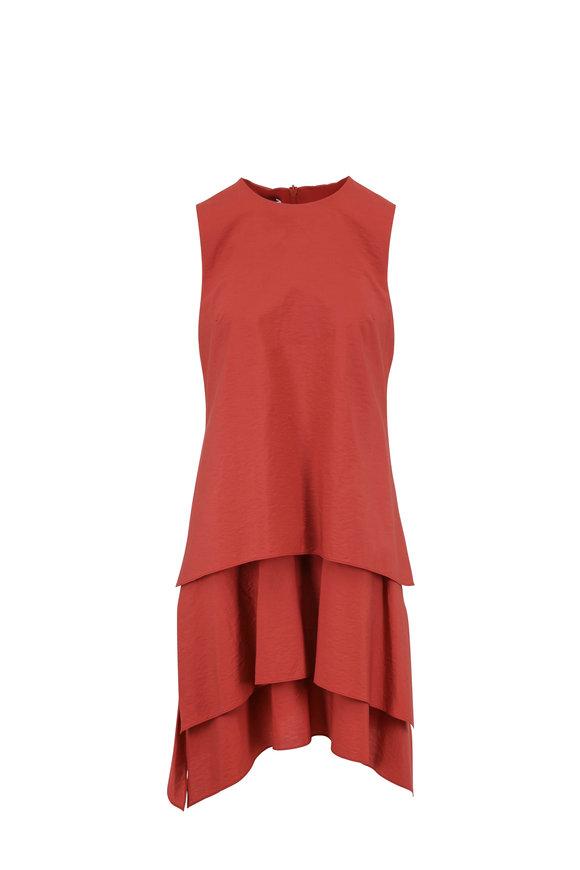 Brunello Cucinelli Rust Stretch Cotton Two Tier Sleeveless Dress