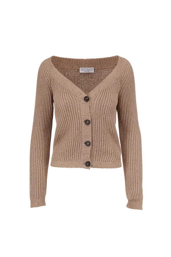 Brunello Cucinelli Almond Cotton, Linen & Silk Paillette Cardigan
