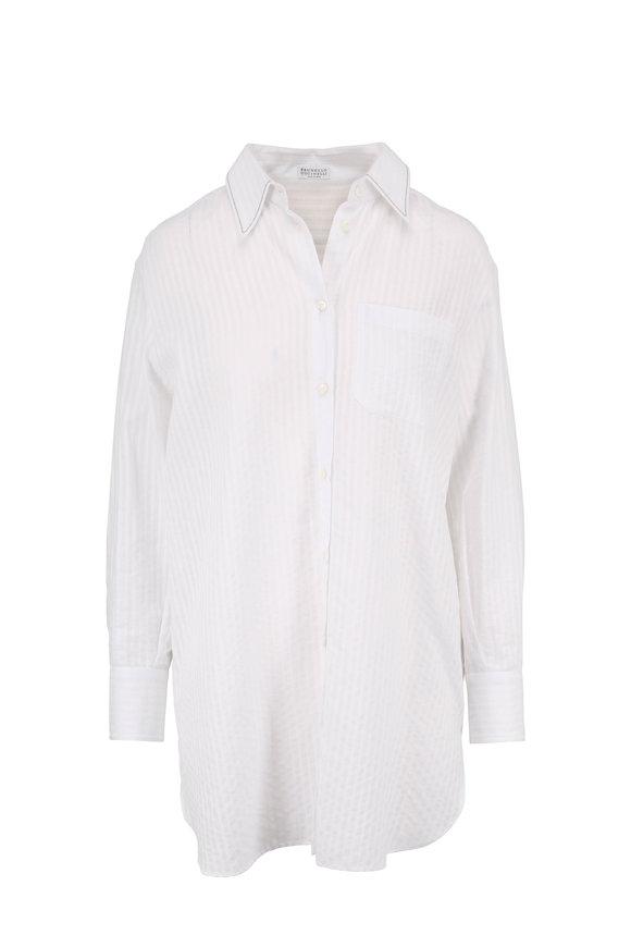 Brunello Cucinelli White Seersucker Button-Down Tunic
