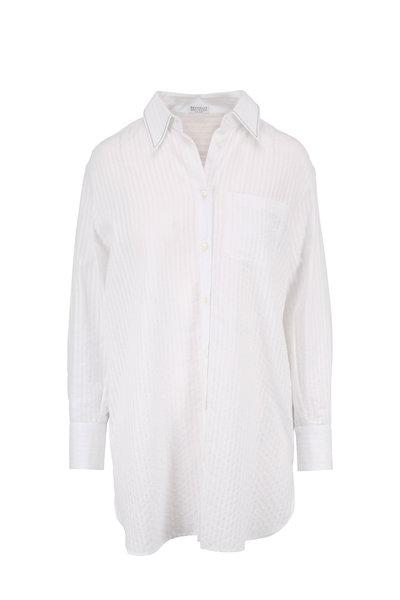 Brunello Cucinelli - White Seersucker Button-Down Tunic