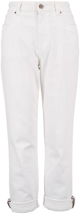 Brunello Cucinelli Natural Cotton Monili Cuff Five-Pocket Jean