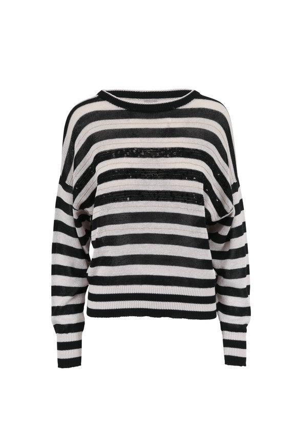 Brunello Cucinelli Black & White Paillette & Monili Striped Sweater