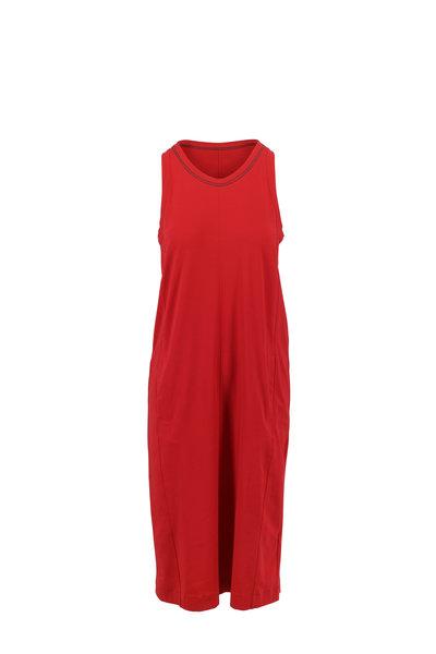 Brunello Cucinelli - Red Cotton Jersey Sleeveless T-Shirt Dress