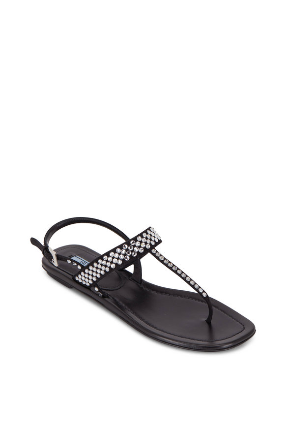 Prada Black Leather Crystal Thong Sandal