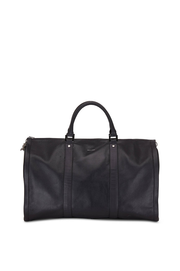Hook + Albert Black Pebbled Leather Garment Weekender