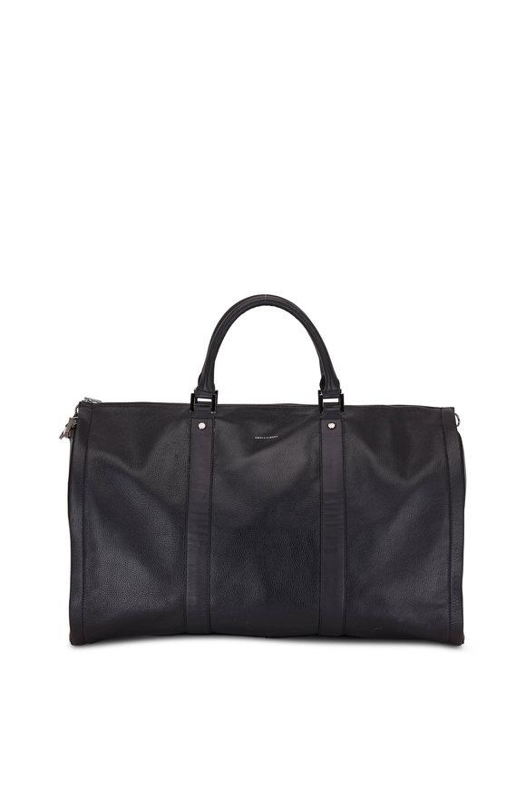 Hook + Albert Black Pebbled Leather Garment Weekender