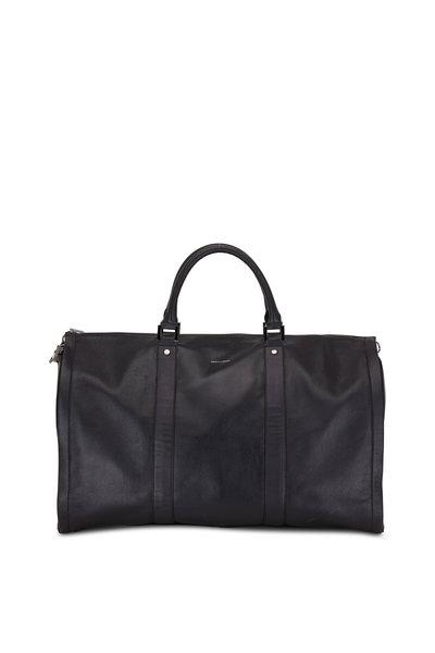 Hook + Albert - Black Pebbled Leather Garment Weekender