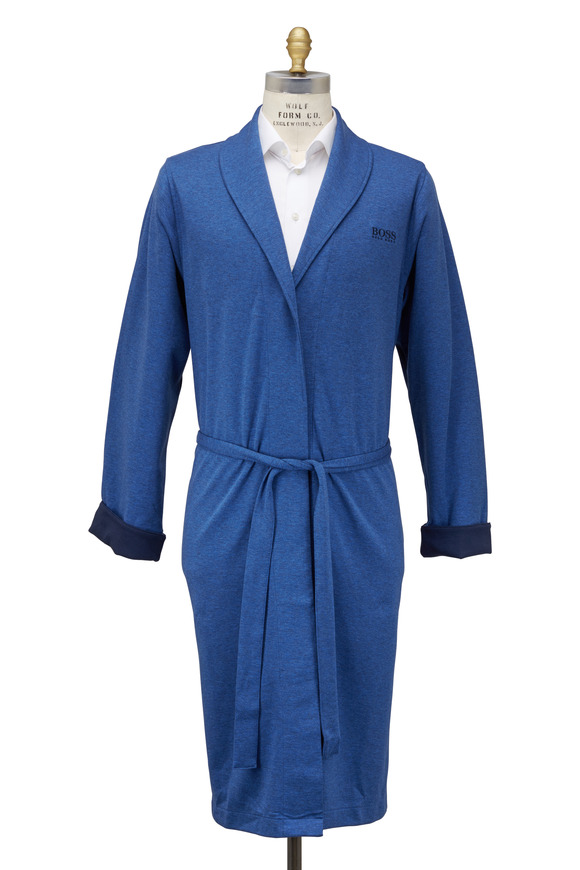 Boss Hugo Boss Blue Cotton Blend Shawl Robe