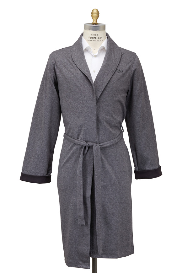 Boss Hugo Boss Black & Gray Cotton Blend Shawl Robe