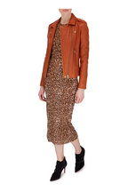 Peter Cohen - Copper Tulle Leopard Print Sleeveless Dress