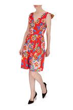 Carolina Herrera - Chili Red Floral Cotton Back-Bow Sleeveless Dress