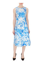 Carolina Herrera - Frida Blue & Ivory Metallic Sleeveless Dress