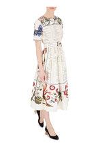 Oscar de la Renta - Ecru Multicolor Floral Print Short Sleeve Dress