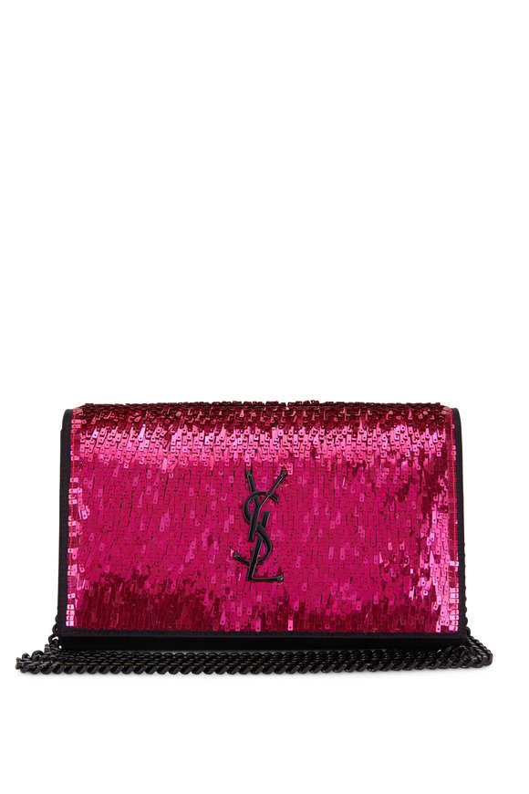 Saint Laurent Monogram Black With Fuchsia Paillette Chain Wallet