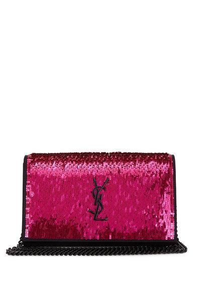 Saint Laurent - Monogram Black With Fuchsia Paillette Chain Wallet