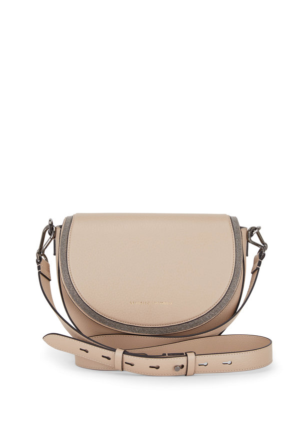 Brunello Cucinelli Beige Pebbled Leather Half Moon Monili Trim Bag
