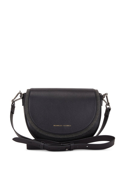 Brunello Cucinelli - Exclusively Ours! Black Leather Half Moon Bag