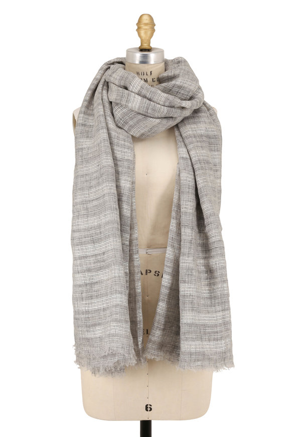 Brunello Cucinelli Gray Plaid Linen Lurex Scarf