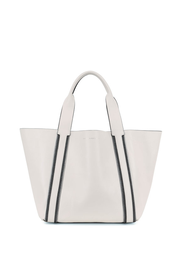 Brunello Cucinelli Off White Leather Monili Trim Shopper Tote
