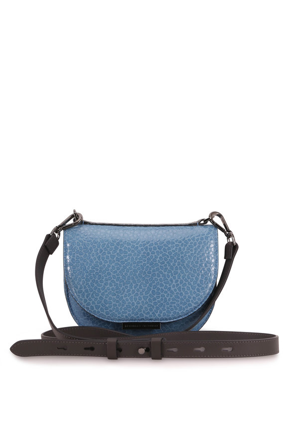 Brunello Cucinelli Blue Glossy Textured Leather Shoulder Bag