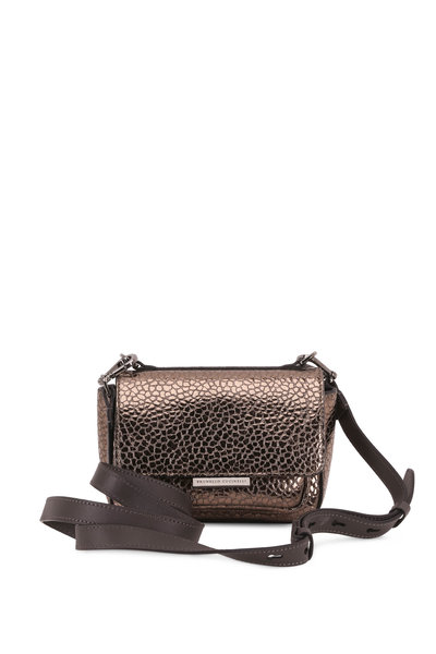Brunello Cucinelli - Mudd Metallic Textured Leather Monili Small Bag