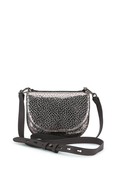 Brunello Cucinelli - Metal Textured Leather Front Flap Shoulder Bag