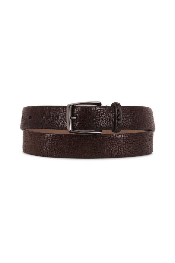 Brunello Cucinelli Chestnut Textured Leather Monili Belt
