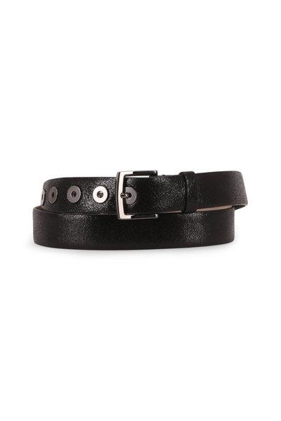 Brunello Cucinelli - Black Crackled Leather Grommet Belt