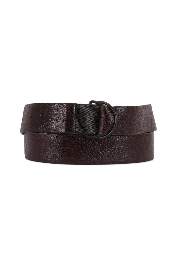 Brunello Cucinelli Dark Brown Crackled Leather D-Ring Belt