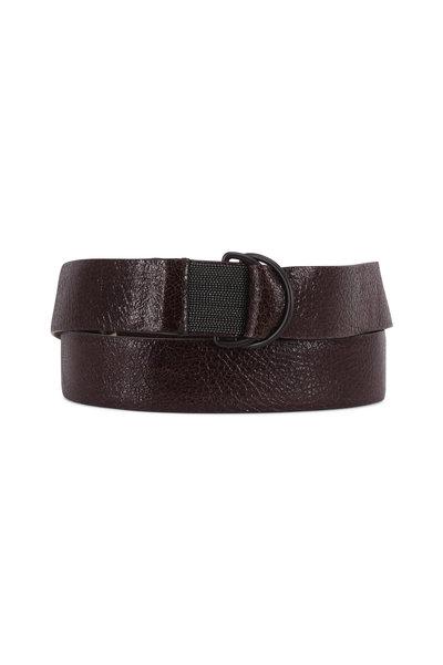Brunello Cucinelli - Dark Brown Crackled Leather D-Ring Belt