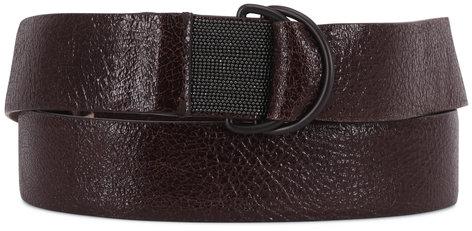 Brunello Cucinelli Dark Brown Crackled Leather D-Ring Belt