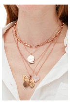 Genevieve Lau - Rose Gold Tube & Short Link Chain Necklace