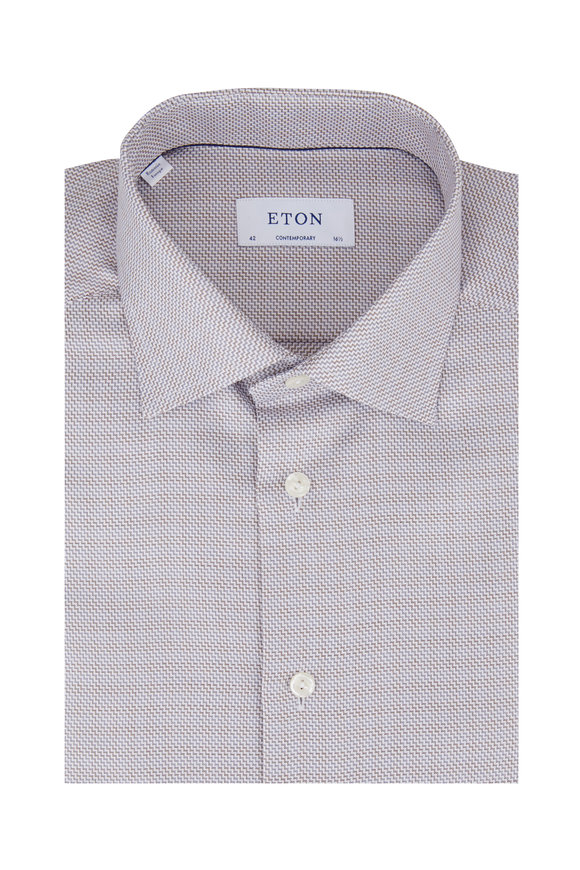Eton Gray Geometric Contemporary Fit Dress Shirt