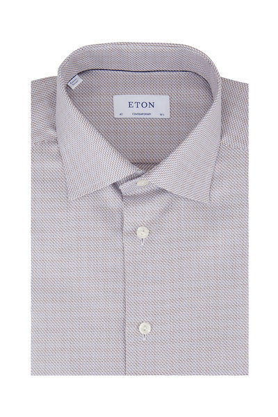 Eton - Gray Geometric Contemporary Fit Dress Shirt