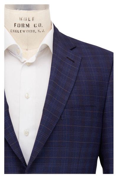 Brioni - Navy Blue Plaid Wool & Silk Sportcoat