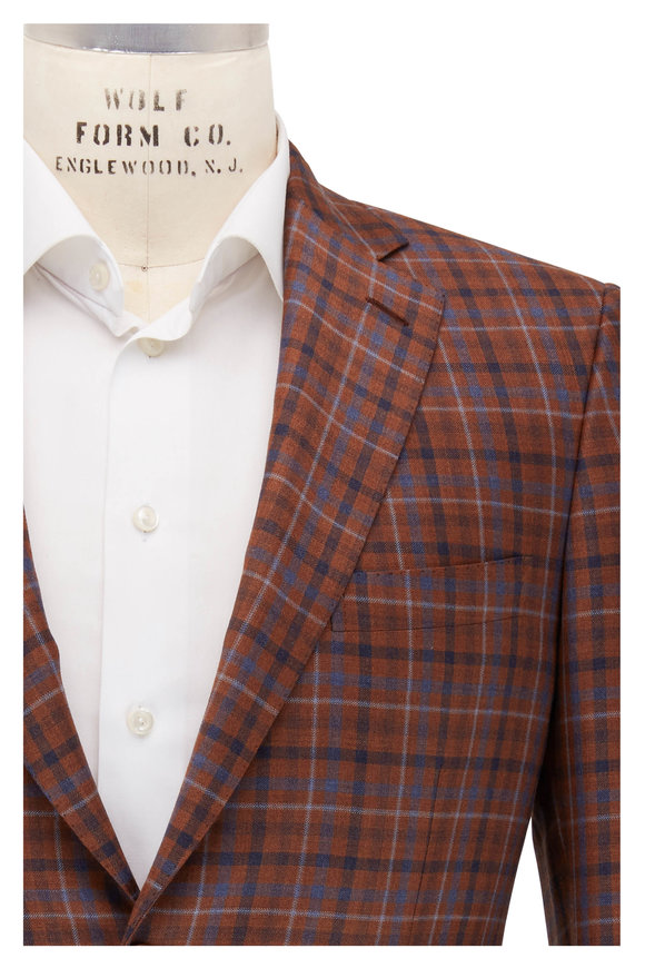Orange & Blue Windowpane Wool Sportcoat