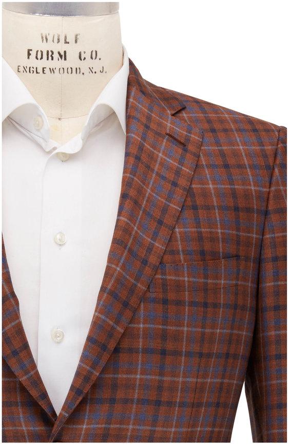Brioni Orange & Blue Windowpane Wool Sportcoat