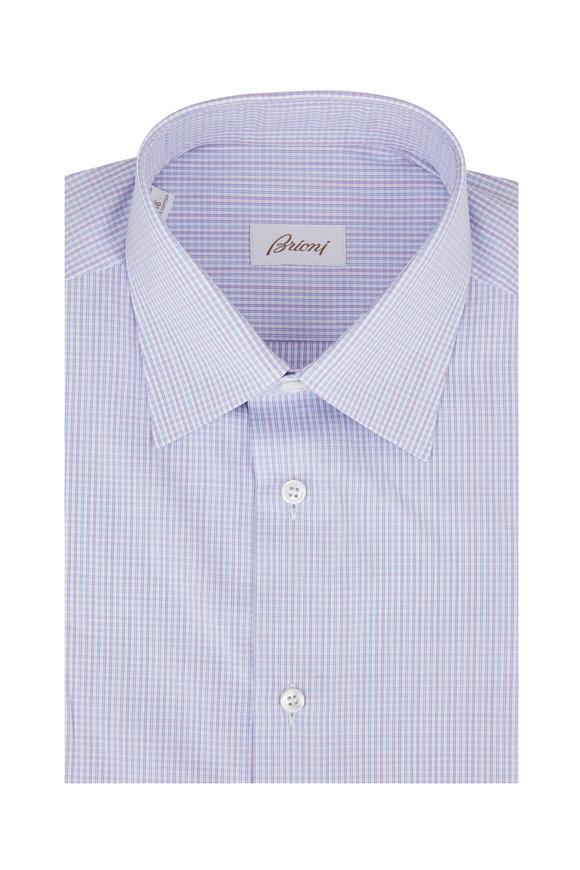 Brioni Light Blue & Pink Check Dress Shirt