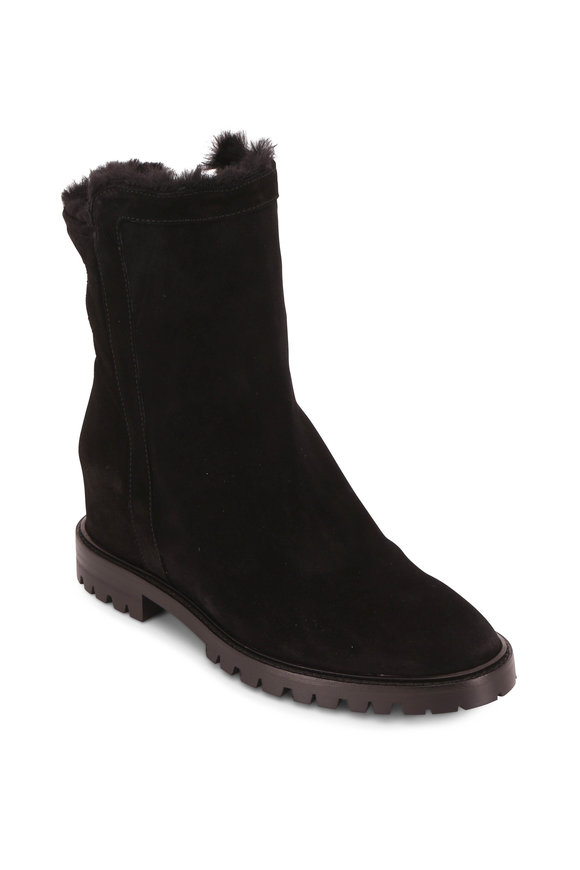 Aquatalia Cate Black Suede Shearling Lined Boot