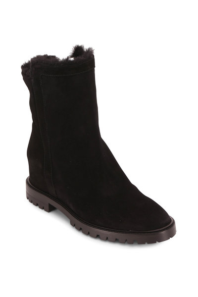 Aquatalia - Cate Black Suede Shearling Lined Boot