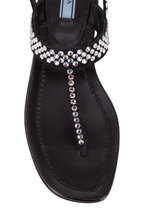 Prada - Black Leather Crystal Thong Sandal