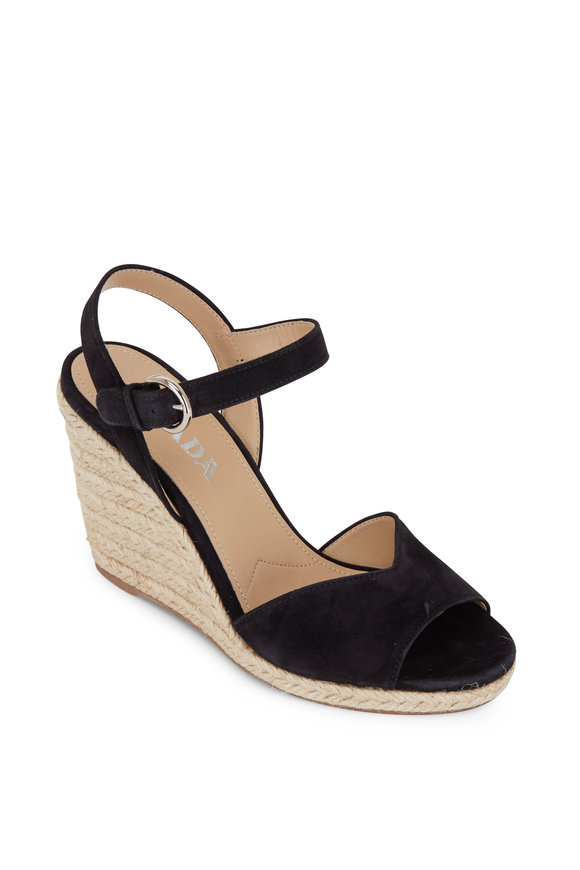 Prada Black Suede V Wedge Espadarille, 95mm