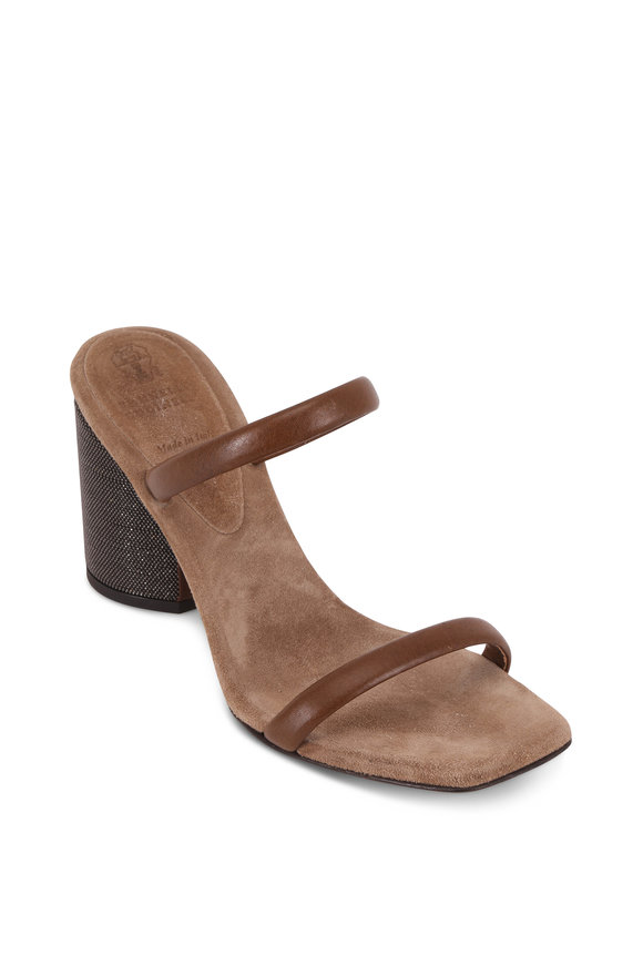 Brunello Cucinelli Dark Brown Two-Band Monili Block Heel Sandal, 80mm