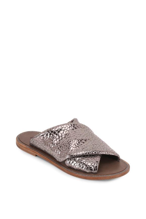 Brunello Cucinelli Gray Metallic Textured Leather Criss-Cross Sandal